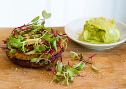Mushroom bean veggie burger